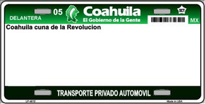 Coahuila Mexico Novelty Background Wholesale Metal License Plate LP-4813