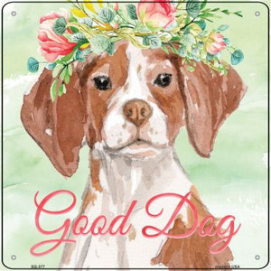 Brittany Good Dog Wholesale Novelty Square Sign SQ-377