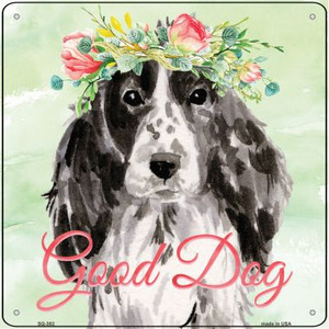 Black Cocker Spaniel Good Dog Wholesale Novelty Square Sign SQ-382