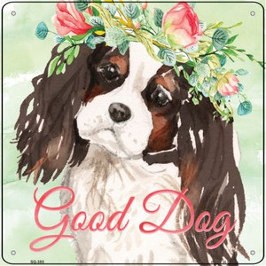 Black King Charles Spaniel Good Dog Wholesale Novelty Square Sign SQ-385