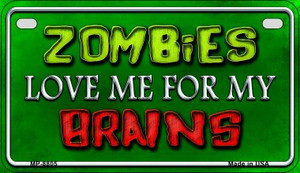 Zombies Love Me Wholesale Metal Novelty Motorcycle License Plate MP-8805