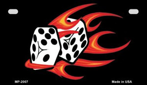Red Hot Flaming Dice Wholesale Metal Novelty Motorcycle License Plate MP-2007
