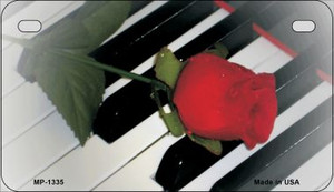 Piano Keys Red Rose Novelty Wholesale Metal Motorcycle License Plate MP-1335