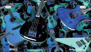 Guitars Blue Background Wholesale Metal Novelty Motorcycle License Plate MP-2316