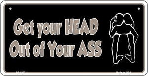 Head Out of Your Ass Novelty Wholesale Metal Bicycle License Plate BP-5227