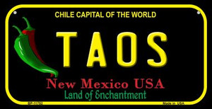 Taos New Mexico Black Wholesale State Bicycle License Plate BP-11752