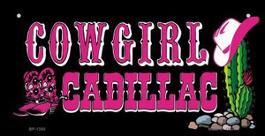 Cowgirl Cadillac Novelty Wholesale Metal Bicycle License Plate BP-1354