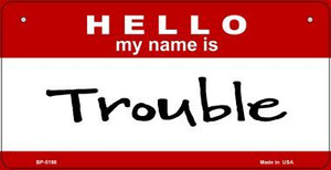 Trouble Wholesale Metal Novelty Bicycle License Plate BP-5198