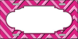 Pink Light Pink Scallop Chevron Monochromatic Wholesale Metal Novelty License Plate LP-4981