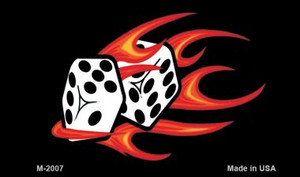 Red Hot Flaming Dice Wholesale Metal Novelty Magnet M-2007