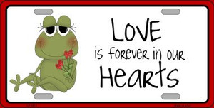 Love In Our Hearts Frog Wholesale Metal Novelty License Plate