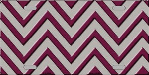 Maroon Grey Chevron Wholesale Metal Novelty License Plate LP-5029