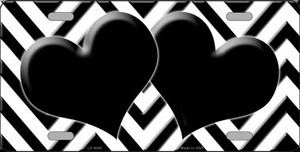 White Black Chevron With Hearts Wholesale Metal Novelty License Plate LP-5046