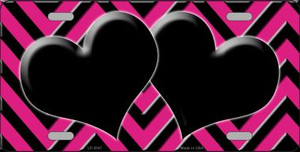 Pink Black Chevron With Hearts Wholesale Metal Novelty License Plate LP-5047