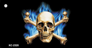 Blue Flame And Crossbones Wholesale Metal Novelty Key Chain KC-2320