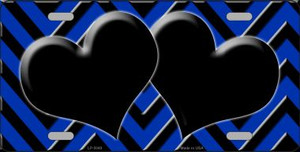 Blue Black Chevron With Hearts Wholesale Metal Novelty License Plate LP-5049