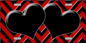 Red Black Chevron With Hearts Wholesale Metal Novelty License Plate LP-5052
