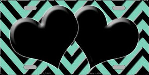 Mint Black Chevron With Hearts Wholesale Metal Novelty License Plate LP-5061