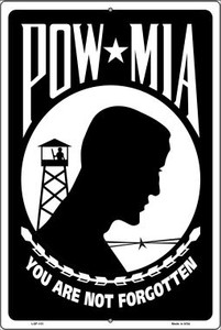 POW MIA Wholesale Metal Novelty Large Parking Sign LGP-101