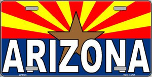 Arizona Flag White Arizona Wholesale Metal Novelty License Plate Sign