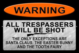 Trespassers Will Be Shot Wholesale Metal Novelty Large Parking Sign LGP-1117