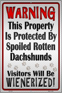 Protected By Dachshund Wholesale Metal Novelty Large Parking Sign LGP-1470