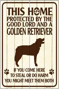 Golden Retriever Protected Metal Novelty Large Parking Sign Wholesale LGP-1572
