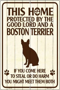 Boston Terrier Protected Metal Novelty Large Parking Sign Wholesale LGP-1573