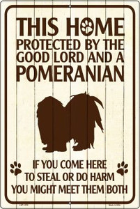 Pomeranian Protected Metal Novelty Large Parking Sign Wholesale LGP-1576
