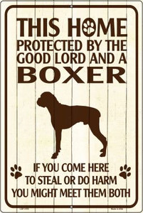 Boxer Protected Metal Novelty Large Parking Sign Wholesale LGP-1578