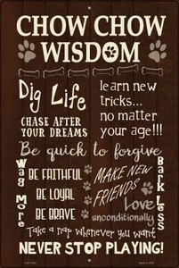 Chow Chow Wisdom Metal Novelty Large Parking Sign Wholesale LGP-1653