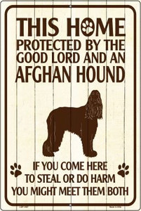 This Home Protected By An Afghan Hound Large Parking Sign Metal Novelty Wholesale LGP-1667