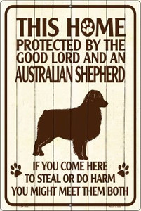 This Home Protected By An Australian Shepard Large Parking Sign Metal Novelty Wholesale LGP-1668