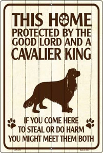 This Home Protected By A Cavalier King Large Parking Sign Metal Novelty Wholesale LGP-1673