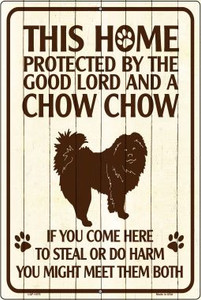 This Home Protected By A Chow Chow Large Parking Sign Metal Novelty Wholesale LGP-1675