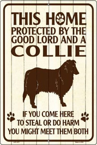 This Home Protected By A Collie Large Parking Sign Metal Novelty Wholesale LGP-1677