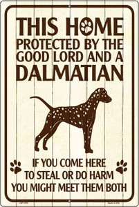 This Home Protected By A Dalmatian Large Parking Sign Metal Novelty Wholesale LGP-1678