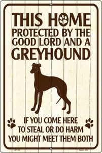 This Home Protected By A Greyhound Large Parking Sign Metal Novelty Wholesale LGP-1681