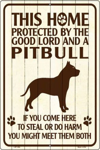 This Home Protected By A Pitbull Large Parking Sign Metal Novelty Wholesale LGP-1684