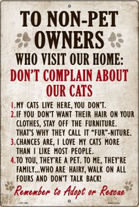 Non-Pet Owners Our Cats Large Parking Sign Wholesale Metal Novelty LGP-1690