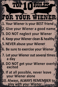 Top Ten Rules For Your Wiener Novelty Wholesale Large Parking Sign