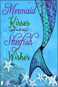 Mermaid Kisses and Starfish Wishes Novelty Wholesale Large Parking Sign LGP-1724