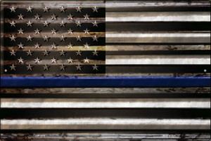 American Flag Thin Blue Line Wholesale Novelty Large Parking Sign LGP-2310