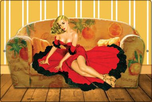 Girl On Couch Vintage Pinup Wholesale Large Parking Sign LGP-1827