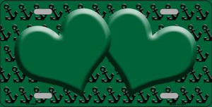 Green Black Anchor Print With Green Heart Center Wholesale Metal Novelty License Plate LP-5300