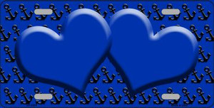 Blue Black Anchor Print With Blue Heart Center Wholesale Metal Novelty License Plate LP-5301