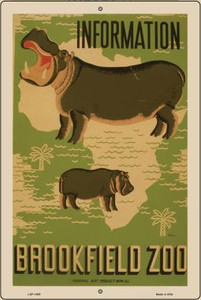 Information Brookfield Zoo Vintage Poster Wholesale Large Parking Sign LGP-1865