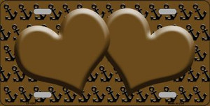 Brown Black Anchor Print With Brown Heart Center Wholesale Metal Novelty License Plate  LP-5307