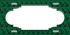 Green Black Anchor Print With Scallop Center Wholesale Metal Novelty License Plate LP-5315