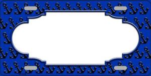 Blue Black Anchor Print With Scallop Center Wholesale Metal Novelty License Plate LP-5316